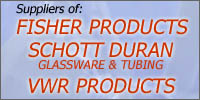 Suppliers of FISHER PRODUCTS, SCHOTT DURAN GLASSWARE & TUBING, VWR PRODUCTS